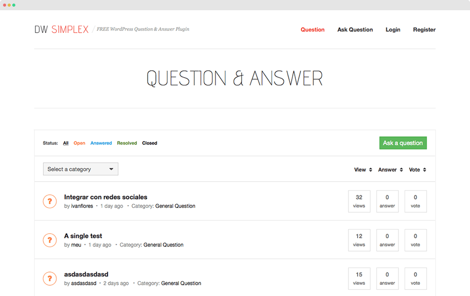 DW Question & Answer WordPress Plugin « Guide « DesignWall