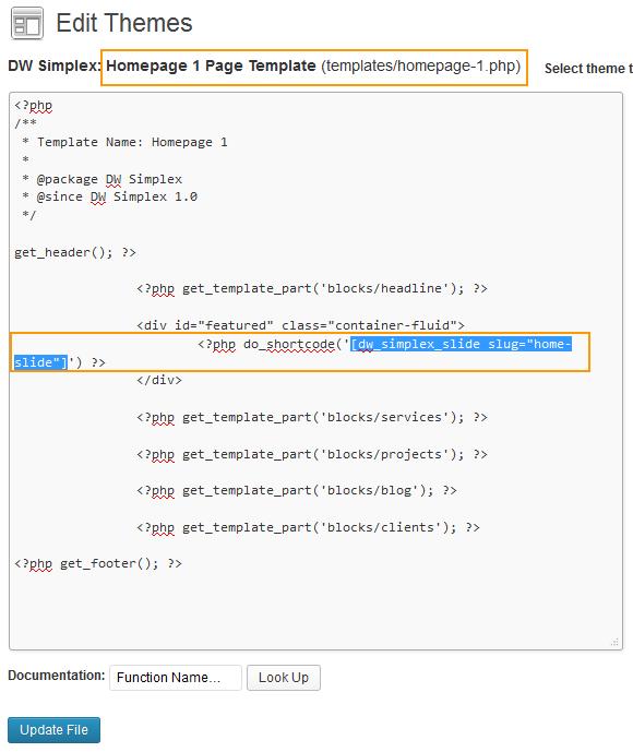 insert short code into homepage