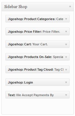Sidebar Shop Backend settings