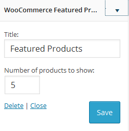 Settings of WooCommerce Featured Products