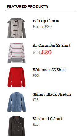 Front-end of Featured Products