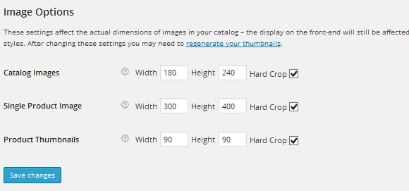 Settings of shop images size