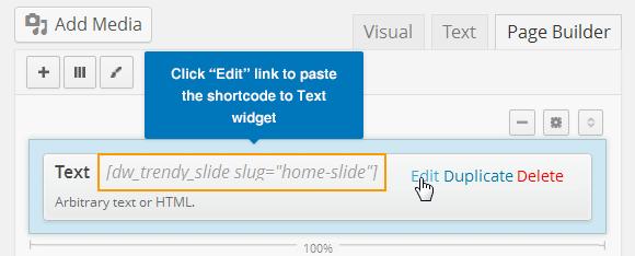 Paste Slide Shortcode to Text Widget