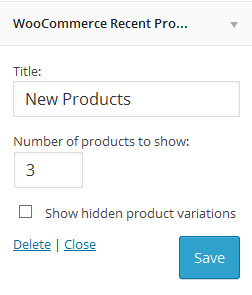 Settings of WooCommerce Recent Products Widget