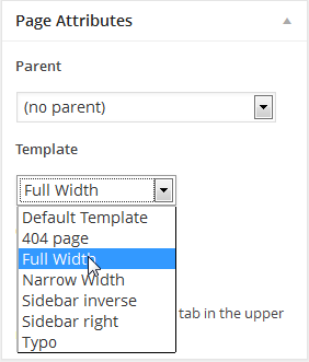 Set Page Template as Full Width