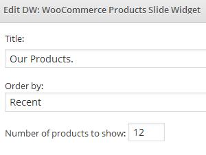 Settings of DW woocommerce Products Slide Widget