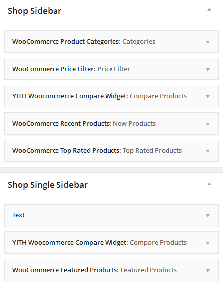 Shop Widgets Settings