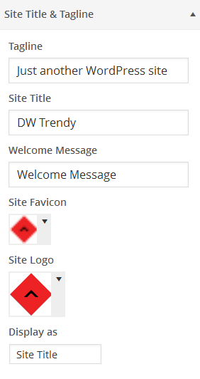 Settings of Site Tagline and Title