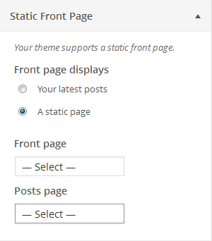 Static Front Page Settings