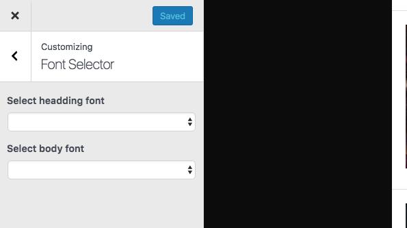 Font Selector Settings