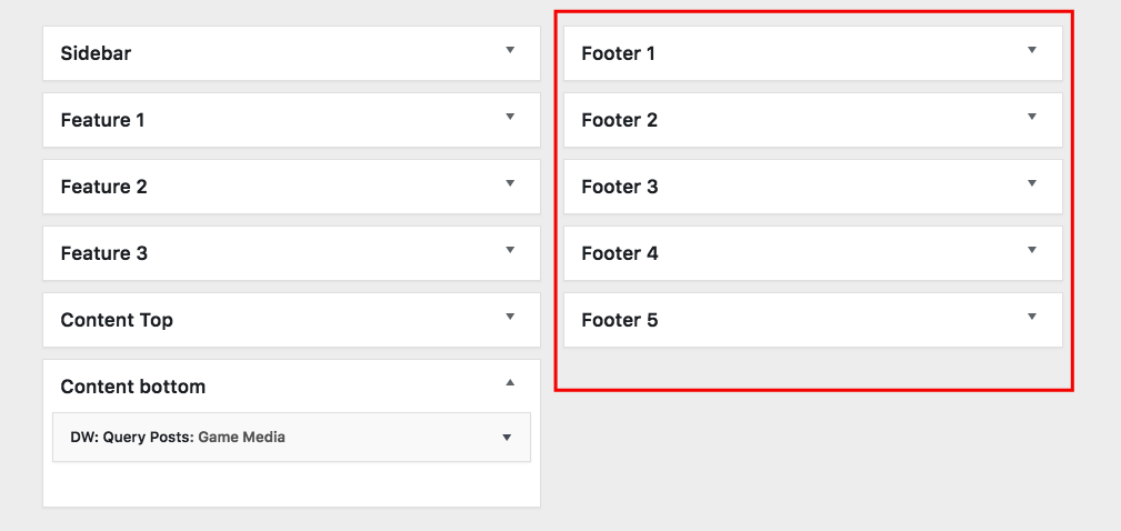 Footer Sidebar Settings