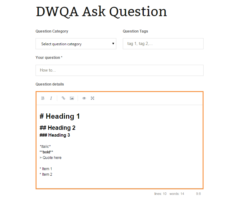 dwqa-markdown-frontend