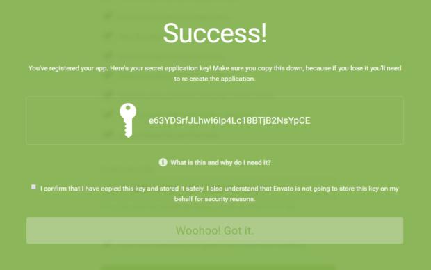 Get a client secret key through Envato API
