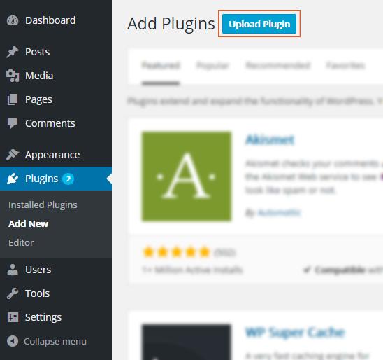 Upload a WordPress plugin via Dashboard