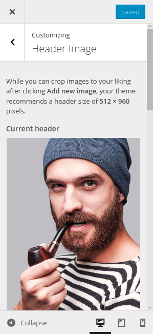 Manage Header Image on DW Resume's Customizer