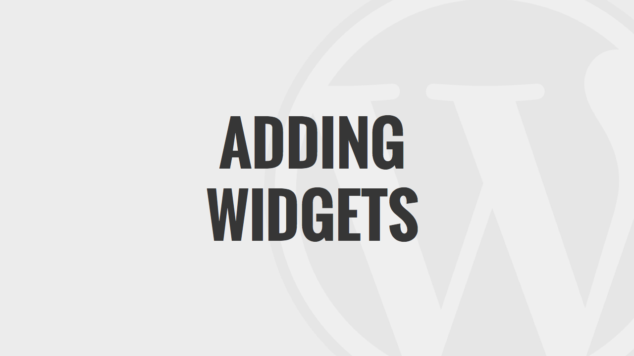 Adding Widgets in WordPress