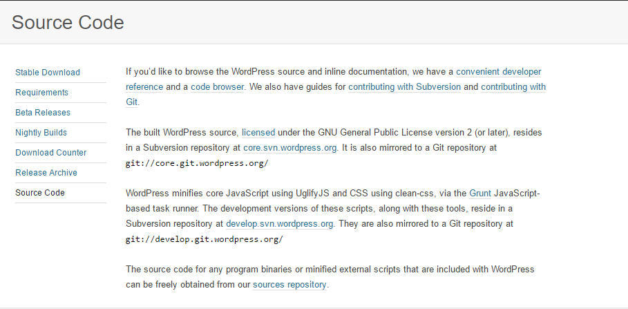 Go to WordPress.org > Download > Source Code to download WordPress Source Code