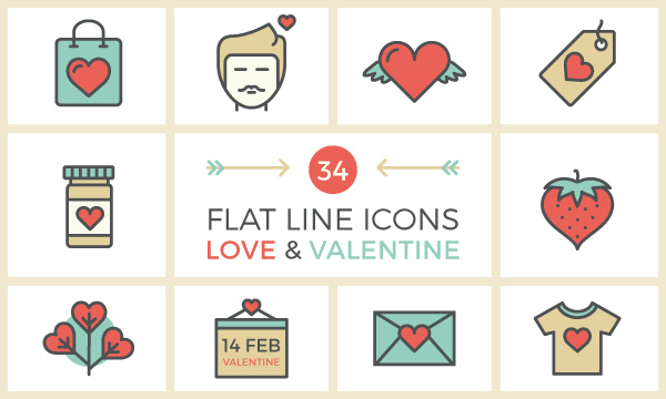 34-flat-line-love-valentine-icon-set