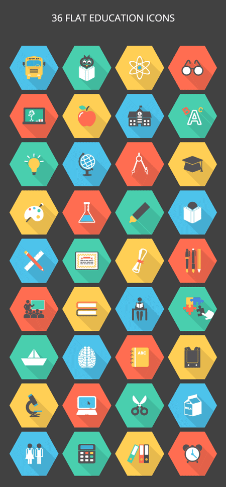 34-36-flat-education-icon-set