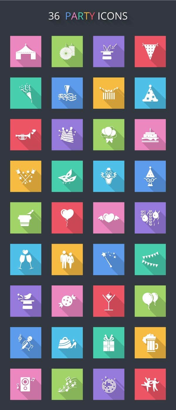 36-free-vector-flat-party-icons
