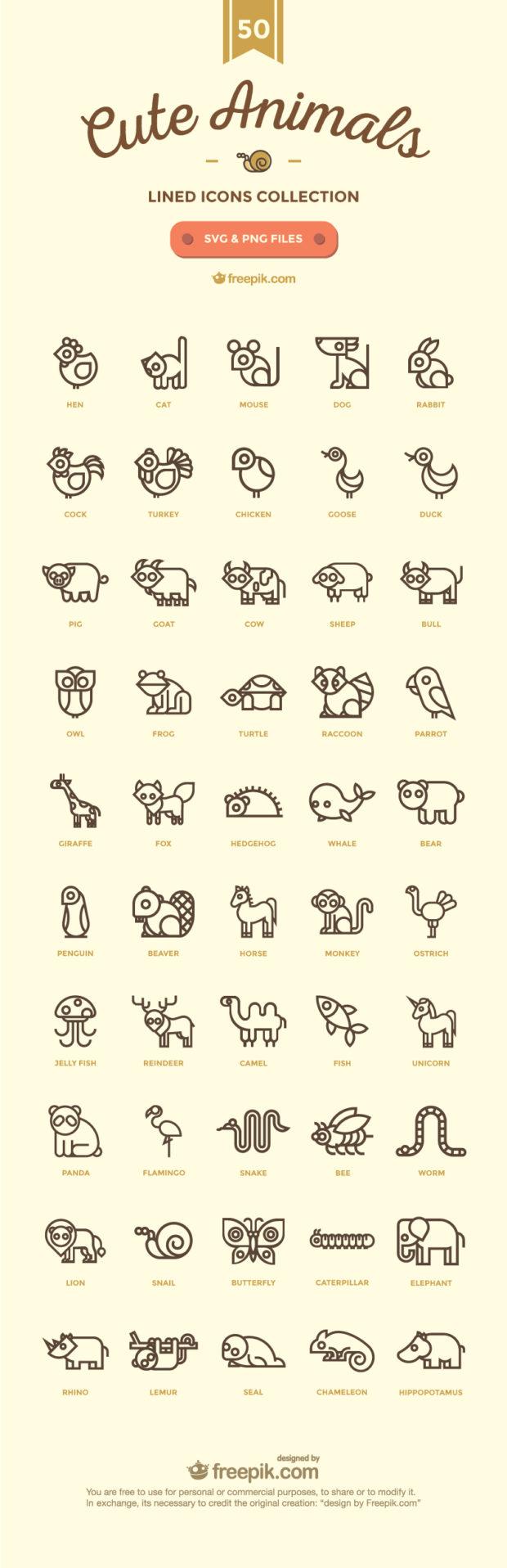 50-free-cute-linear-animals