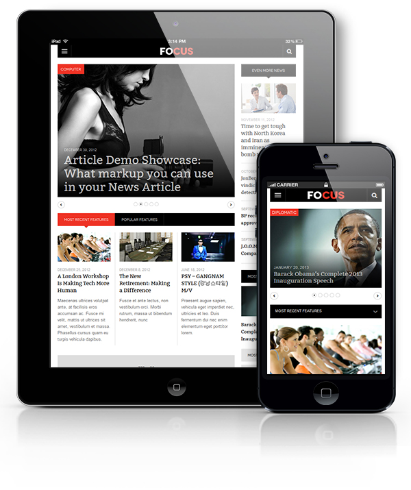 DW Focus view on Tablet and Mobile