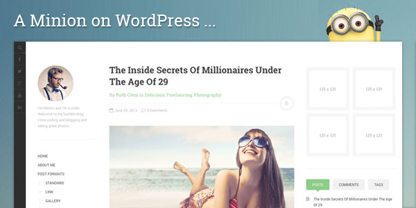 Responsive WordPress theme for blog site with minimal design