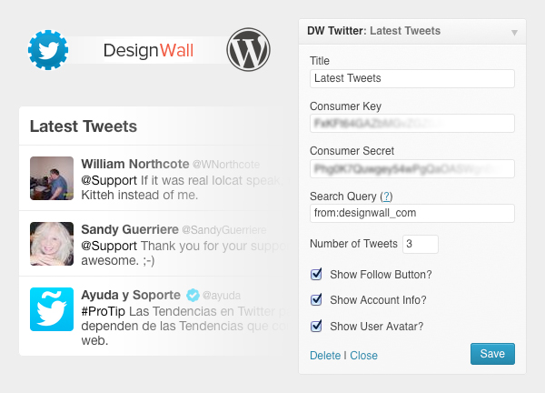 WordPress Twitter Plugin featuring Twitter API 1 1 – DW Twitter